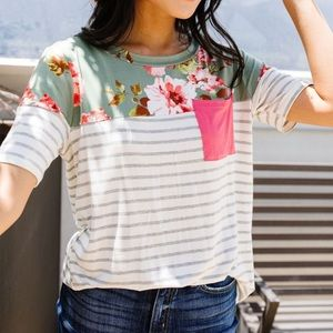 NWT Floral & Stripes Coral Pocket Tee by Haptics